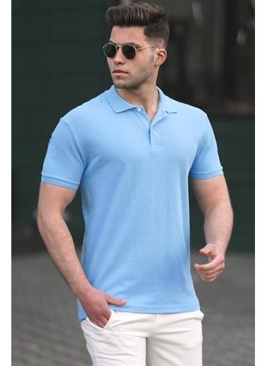 Madmext   Basic Polo Yaka Erkek Tişört 5101 Mavi